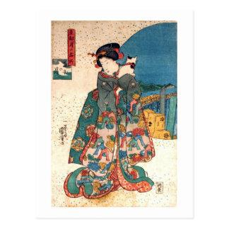 少女と猫, chica del 国芳 con el gato, Kuniyoshi, Ukiyo-e Tarjeta Postal