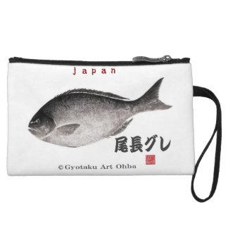 尾長グレ!JAPAN 魚拓 Gyotaku Wristlet Purses