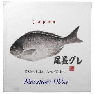 尾長グレ!JAPAN 魚拓 Gyotaku Napkin