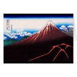 山下白雨 Rainstorm, Summit 葛飾北斎 Hokusai Cards