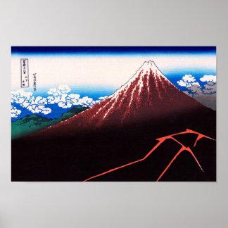 山下白雨 Rainstorm, Summit 葛飾北斎 Hokusai Print