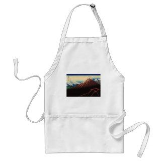 山下白雨, trueno y el monte Fuji, Hokusai, Ukiyo-e del Delantal