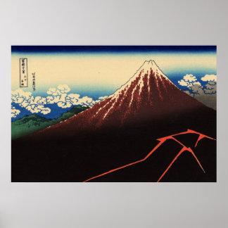 山下白雨, trueno y el monte Fuji, Hokusai, Ukiyo-e del Impresiones