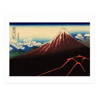 山下白雨, trueno y el monte Fuji, Hokusai, Ukiyo-e del Postal