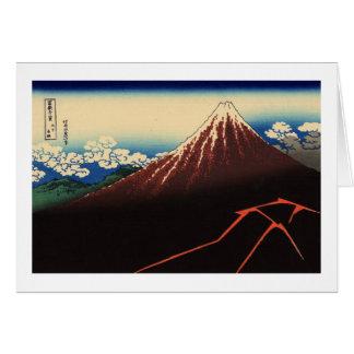 山下白雨, trueno y el monte Fuji, Hokusai, Ukiyo-e del Tarjeta De Felicitación
