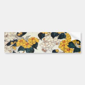 山吹, flor amarilla del 北斎, Hokusai, Ukiyo-e Pegatina Para Auto