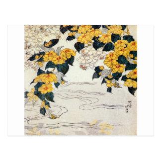 山吹, flor amarilla del 北斎, Hokusai, Ukiyo-e Tarjetas Postales
