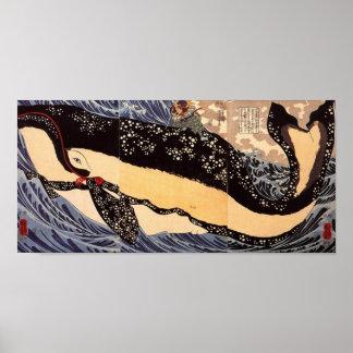 巨鯨, ballena grande del 国芳, Kuniyoshi, Ukiyoe Póster
