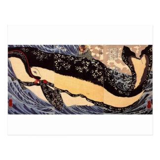 巨鯨, ballena grande del 国芳, Kuniyoshi, Ukiyoe Postales