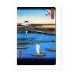 帆掛け舟と富士, velero del 広重 y el monte Fuji, Hiroshige Tarjeta Postal