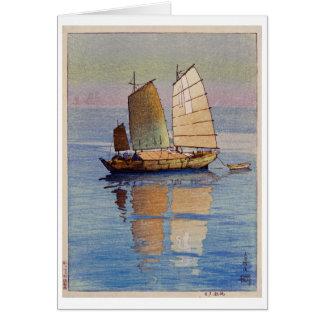 帆船夕日, Sailing Boats Evening Glow, Hiroshi Yoshida Card