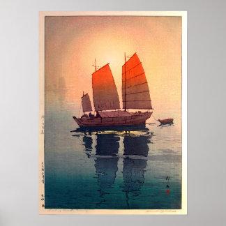 帆船 朝, Sailing Boats Morning, Hiroshi Yoshida Poster