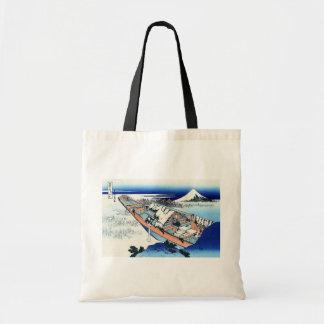 常州牛掘, 北斎 View Mt.Fuji from Ushibori, Hokusai Tote Bag