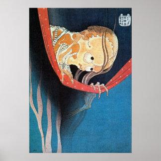 幽霊, fantasma del 北斎, Hokusai, Ukiyoe Póster