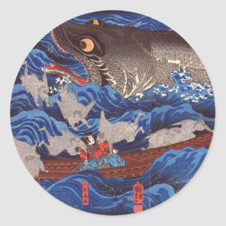 怪物鮫,国芳 Monster Shark, Kuniyoshi, Ukiyo-e Classic Round Sticker