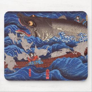 怪物鮫,国芳 Monster Shark, Kuniyoshi, Ukiyo-e Mouse Pad