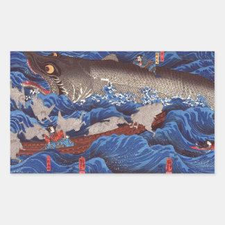 怪物鮫,国芳 Monster Shark, Kuniyoshi, Ukiyo-e Rectangular Sticker
