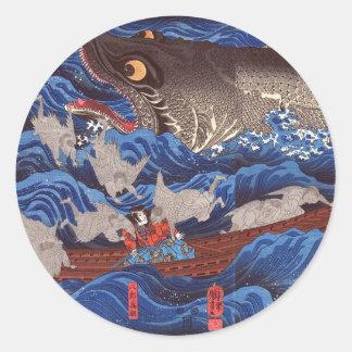 怪物鮫, tiburón del monstruo del 国芳, Kuniyoshi, Pegatina Redonda