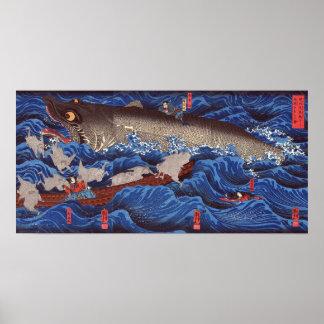 怪物鮫, tiburón del monstruo del 国芳, Kuniyoshi, Póster