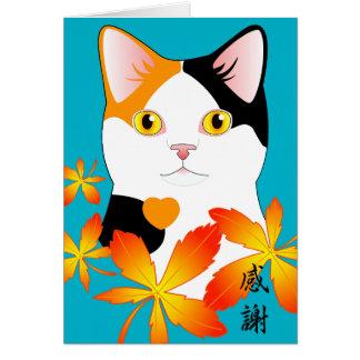 感謝 三毛猫 Gratitude Thank You Japanese Cat card
