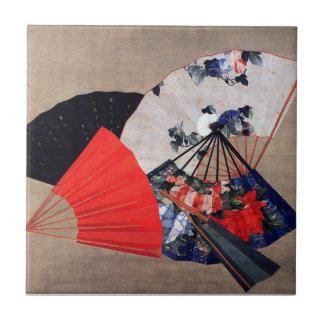 扇子, 北斎 Five Fans, Hokusai, Art Ceramic Tile