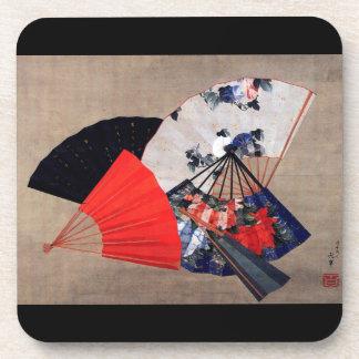 扇子, fans del 北斎 cinco, Hokusai, arte Posavasos De Bebidas