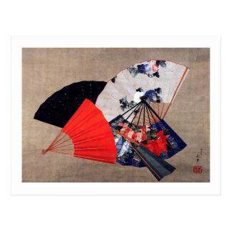 扇子, fans del 北斎 cinco, Hokusai, Ukiyoe Postal