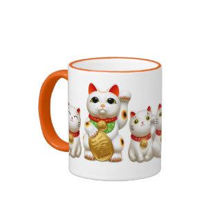 招き猫 maneki neko ringer coffee mug