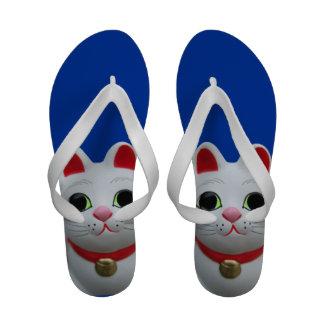 招き猫 Manekineko Lucky cat Beckoning cat Flip-Flops