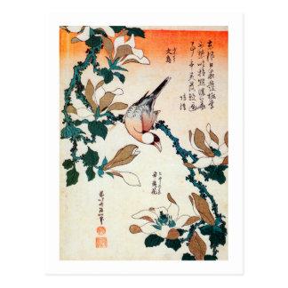 文鳥とコブシ, 北斎 Java Sparrow and Kobushi, Hokusai Postcards