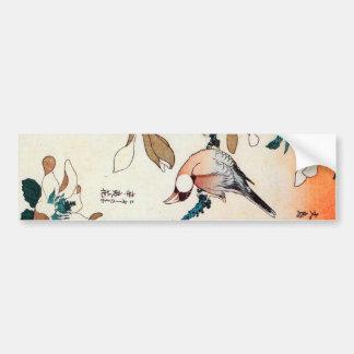 文鳥とコブシ, gorrión de Java del 北斎 y Kobushi, Hokusai Pegatina Para Auto