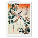 文鳥とコブシ, gorrión de Java del 北斎 y Kobushi, Hokusai Tarjeton