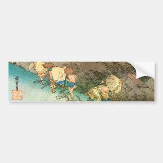 旅人とにわか雨, 広重 Travelers caught in a Shower, Hiroshig Bumper Sticker