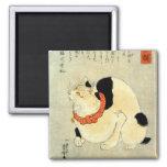 日本猫, 国芳 Japanese Cat, Kuniyoshi, Ukiyo-e 2 Inch Square Magnet