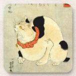 日本猫, 国芳 Japanese Cat, Kuniyoshi, Ukiyo-e Beverage Coaster