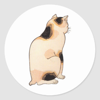 日本猫, 国芳 Japanese Cat, Kuniyoshi, Ukiyo-e Classic Round Sticker
