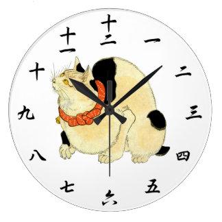 日本猫, 国芳 Japanese Cat, Kuniyoshi, Ukiyo-e Large Clock