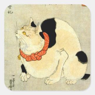 日本猫, 国芳 Japanese Cat, Kuniyoshi, Ukiyo-e Square Sticker
