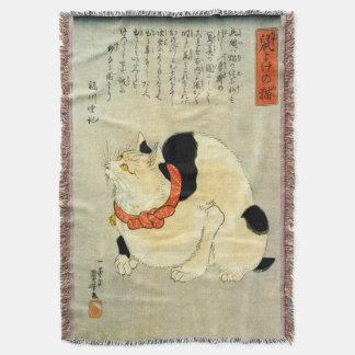 日本猫, 国芳 Japanese Cat, Kuniyoshi, Ukiyo-e Throw