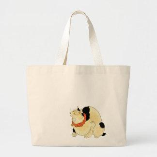 日本猫, gato japonés del 国芳, Kuniyoshi, Ukiyo-e Bolsa Tela Grande