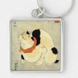 日本猫, gato japonés del 国芳, Kuniyoshi, Ukiyo-e Llavero Personalizado