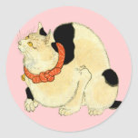 日本猫, gato japonés del 国芳, Kuniyoshi, Ukiyo-e Pegatina Redonda