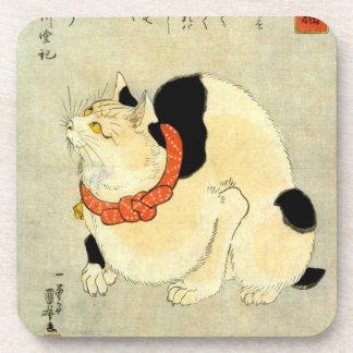 日本猫, gato japonés del 国芳, Kuniyoshi, Ukiyo-e Posavasos De Bebidas