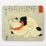 日本猫, gato japonés del 国芳, Kuniyoshi, Ukiyo-e Alfombrilla De Ratones
