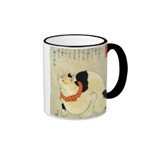 日本猫, gato japonés del 国芳, Kuniyoshi, Ukiyo-e Tazas De Café