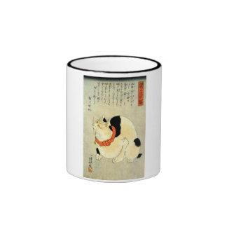日本猫, gato japonés del 国芳, Kuniyoshi, Ukiyo-e Taza