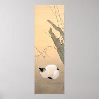 日本語 japonés: flores c.1906 del gato y del ciruelo  poster