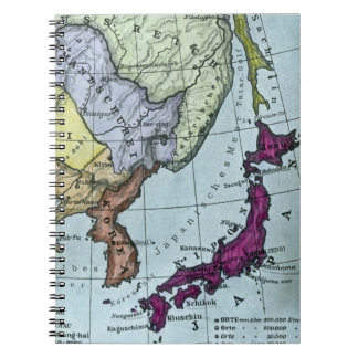 日本 teñido mano japonesa del mapa del vintage cuaderno
