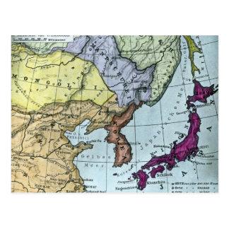 日本 teñido mano japonesa del mapa del vintage postal