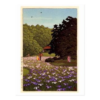 明治神宮菖蒲園, Iris Garden at Meiji Shrine, Hasui Kawase Postcard